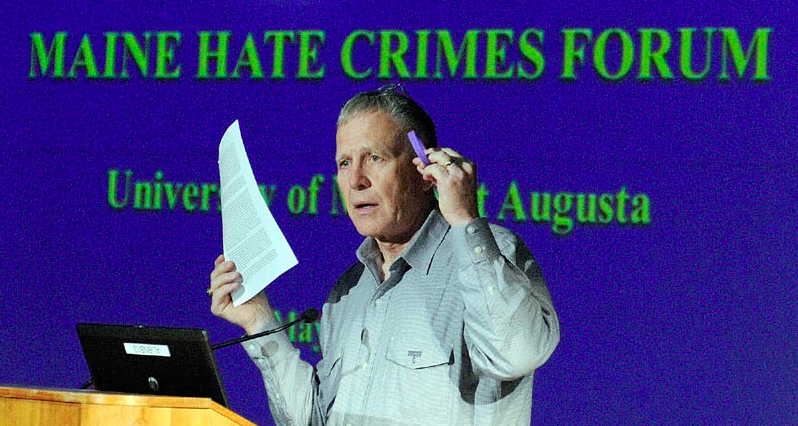 Dennis Shepard speaking at the Maine Hate Crimes Forum