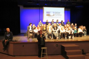 A post-show discussion at Rolling Meadows HS.